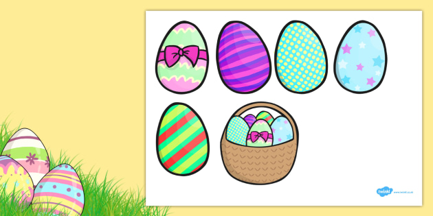 Five Easter Eggs Counting Song Cut Outs - Five, Easter, Egg, Song