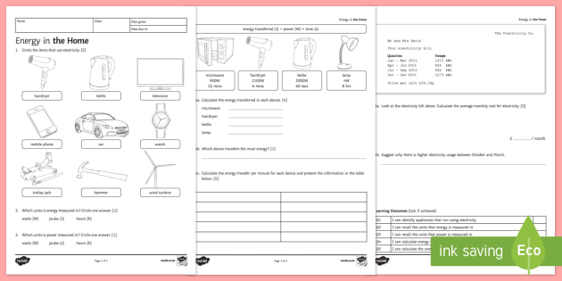 KS3 Energy in the Home Homework Worksheet / Worksheet
