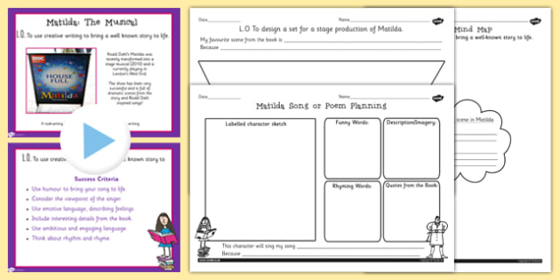 Matilda Inspired Song or Poetry Writing Lesson Teaching Pack to Support Teaching on Matilda