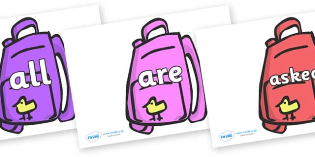 Tricky Words on Backpacks - Tricky words, DfES Letters and Sounds, Letters and sounds, display, words