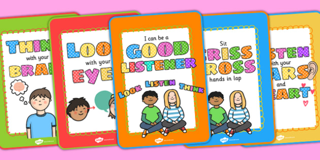 Good Listening Display Posters - good listening, posters, display posters, themed posters, images, pictures, key words, posters for display, listen poster