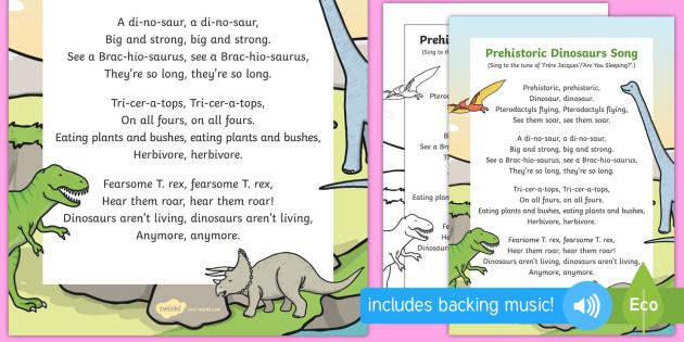 prehistoric dinosaurs song eyfs early years ks1 dinosaurs. Black Bedroom Furniture Sets. Home Design Ideas