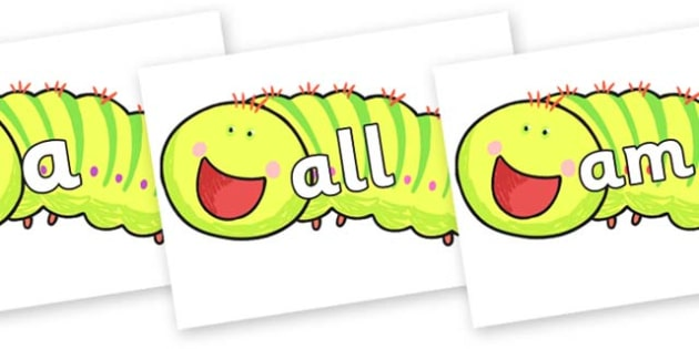 Foundation Stage 2 Keywords on Crunching Munching Caterpillar to Support Teaching on The Crunching Munching Caterpillar - FS2, CLL, keywords, Communication language and literacy,  Display, Key words, high frequency words, foundation stage literacy, D