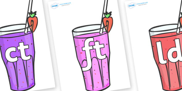 Final Letter Blends on Smoothies - Final Letters, final letter, letter blend, letter blends, consonant, consonants, digraph, trigraph, literacy, alphabet, letters, foundation stage literacy