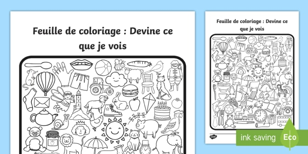 Feuille De Coloriage Devine Ce Que Je Vois Teacher Made