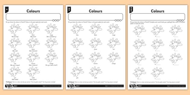 ks1 french colours worksheet. Black Bedroom Furniture Sets. Home Design Ideas