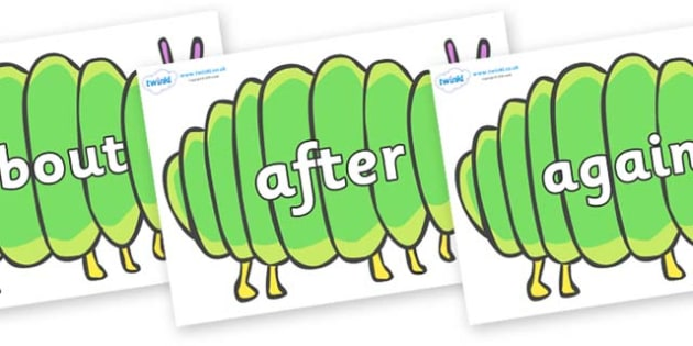KS1 Keywords on Fat Caterpillars to Support Teaching on The Very Hungry Caterpillar - KS1, CLL, Communication language and literacy, Display, Key words, high frequency words, foundation stage literacy, DfES Letters and Sounds, Letters and Sounds, spe