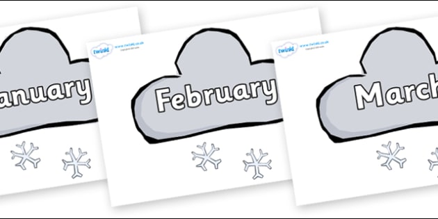 Months of the Year on Weather Symbols (Snow) - Months of the Year, Months poster, Months display, display, poster, frieze, Months, month, January, February, March, April, May, June, July, August, September