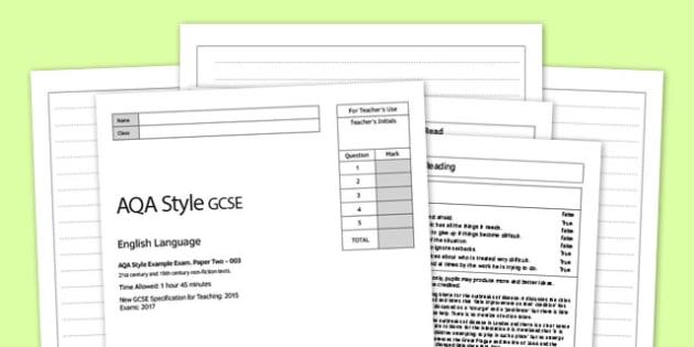 003 Eng Lang AQA Style Exam P2 - gcse, english, language, aqa, style, exam, pack
