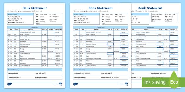 bank statement worksheet  teacher made