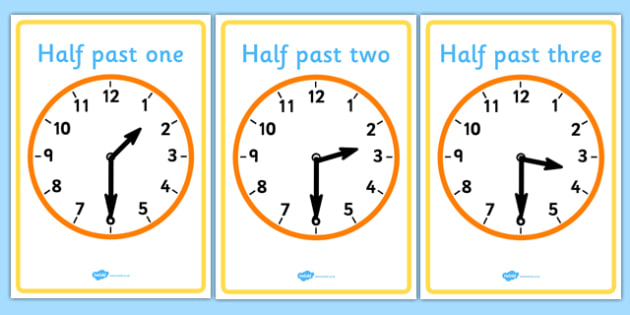 FREE! - Analogue Clocks - Half Past - Time resource, Time vocabulary