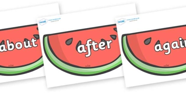 KS1 Keywords on Watermelons to Support Teaching on The Very Hungry Caterpillar - KS1, CLL, Communication language and literacy, Display, Key words, high frequency words, foundation stage literacy, DfES Letters and Sounds, Letters and Sounds, spelling