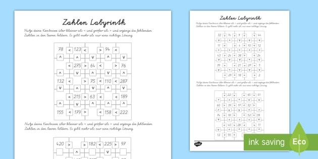 Zahlen labyrinth: Größer und Kleiner als Arbeitsblätter