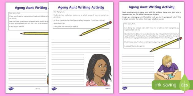 Sex and Relationships Education (Menstruation): Agony Aunt Writing Activity Sheet, worksheet, sex education