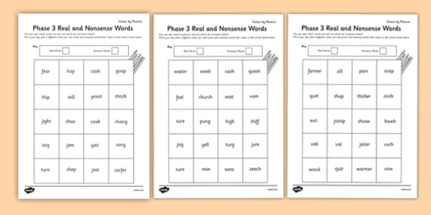 Phase 3 Colour By Phoneme Real And Nonsense Words Worksheet