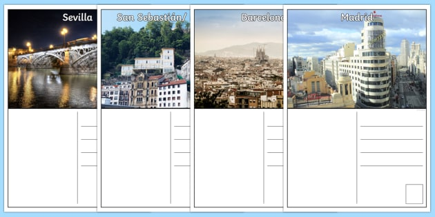 Holiday in Spain Postcards - Spanish KS2, postcards, holidays, spain, spanish cities, letters