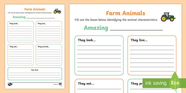 Farm Animal Information Writing Frames - Requests CfE, Scottish farming, farm animals, writing frame, information frame, researching farm ani