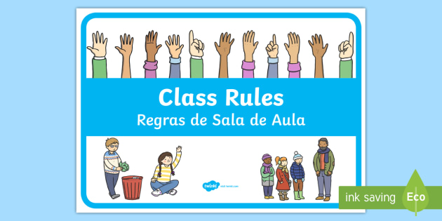 Modern Classroom Rules ~ New class rules display poster english portuguese