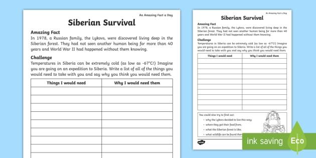 Siberian Survival Worksheet / Worksheet - Amazing Fact Of ...