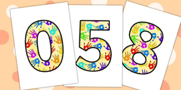 A4 Handprint Display Numbers - handprint, display, numbers, display numbers, hands, numbers for display, themed numbers, coloured numbers