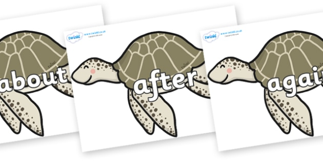 KS1 Keywords on Turtles - KS1, CLL, Communication language and literacy, Display, Key words, high frequency words, foundation stage literacy, DfES Letters and Sounds, Letters and Sounds, spelling