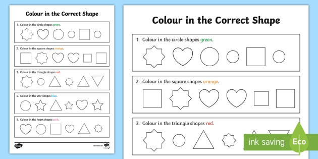 Colour In The Correct Shape Recognition Worksheet