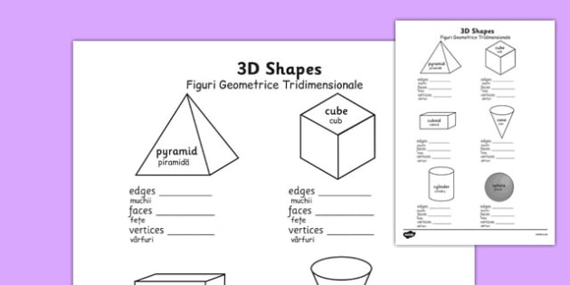 3D Shape Properties Worksheets Romanian Translation - romanian, 3d shape, properties, worksheets