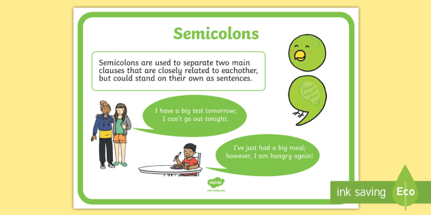 Semicolon Punctuation Poster Semicolon Punctuation Poster