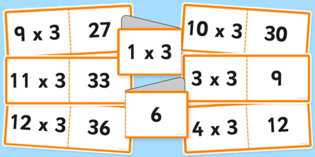 3 Times Tables Cards Romanian Translation - romanian, times table, cards, 3, fold, activity