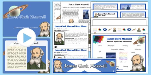 Scottish Significant Individuals James Clerk Maxwell Resource Pack - CfE, significant individuals, science, maths, engineering, electromagnetic radiation, famous Scottish