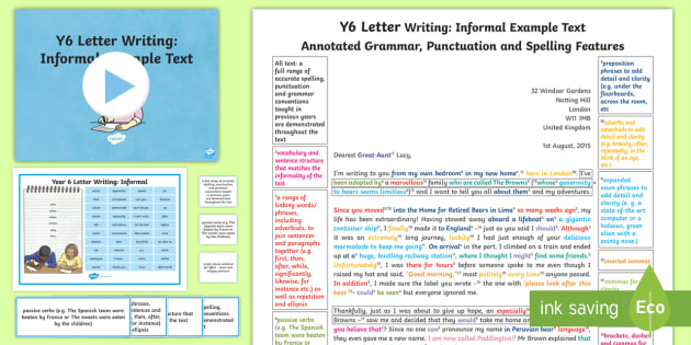 y6 letter writing informal model example text example texts