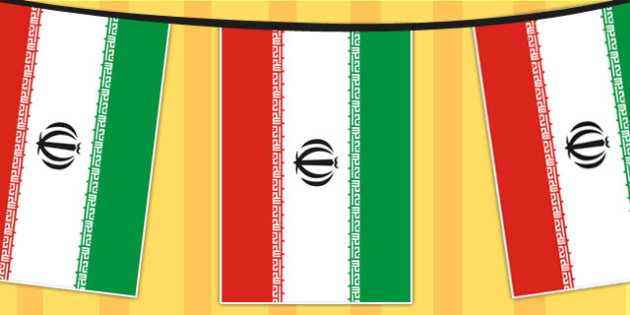 Iran A4 Flag Bunting - countries, geography, flags, country