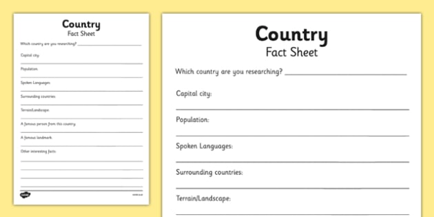 Country Factsheet Writing Template  Country Factsheet Places