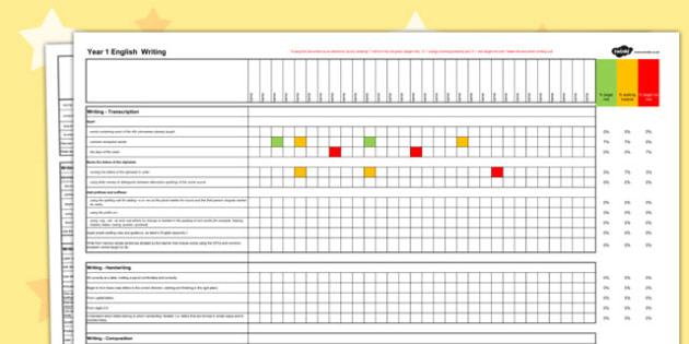 2014 National Curriculum Year 1 English Writing Spreadsheet - targets, read