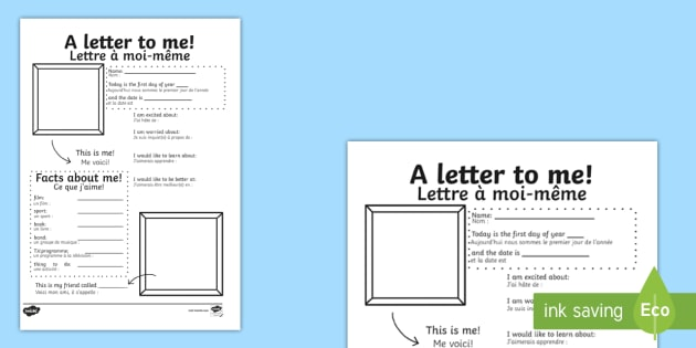 A letter to myself Worksheet Activity Sheet English French