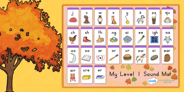 Autumn Level One Sound Mat - seasons, weather, sounds, visual aid