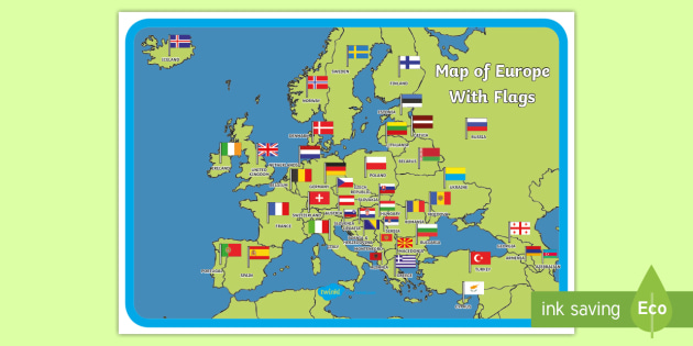 Map of Europe with Flags Display Poster - Map of Europe Poster - map ...
