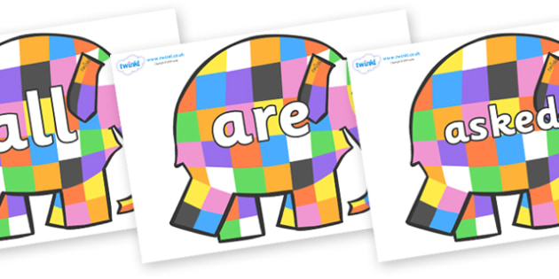 Tricky Words on Elmer to Support Teaching on Elmer - Tricky words, DfES Letters and Sounds, Letters and sounds, display, words