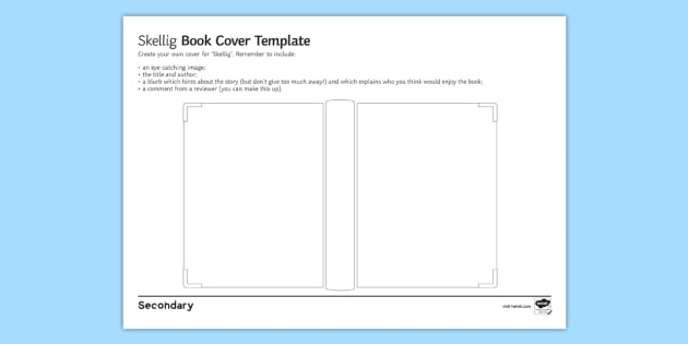 Book Cover Template Primary Resources : Design a book cover to support teaching on skellig by david