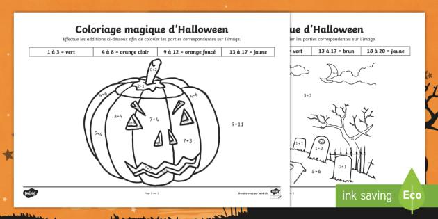 Coloriage Magique Jusqua 20.New Coloriage Magique Additions Jusqu A 20 Sur Le Theme D Halloween