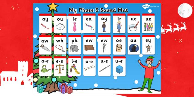Elf Themed Phase 5 Sound Mat - elf, sound mat, elf on the shelf