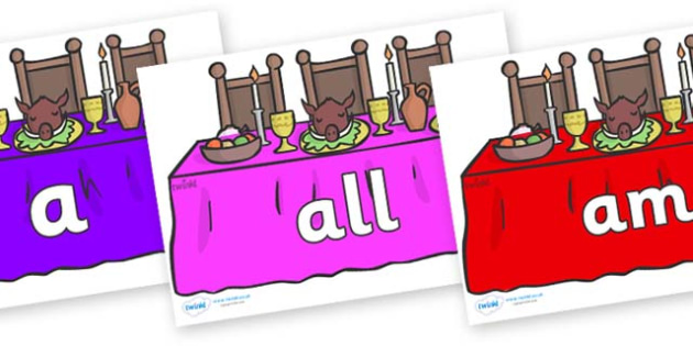 Foundation Stage 2 Keywords on Dining Tables (Multicolour) - FS2, CLL, keywords, Communication language and literacy,  Display, Key words, high frequency words, foundation stage literacy, DfES Letters and Sounds, Letters and Sounds, spelling