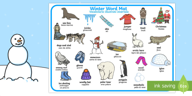 Italian English Animsld: Winter Word Mat English/Italian