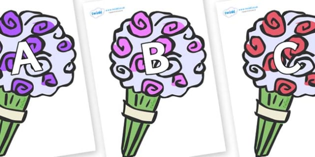 A-Z Alphabet on Bouquets - A-Z, A4, display, Alphabet frieze, Display letters, Letter posters, A-Z letters, Alphabet flashcards