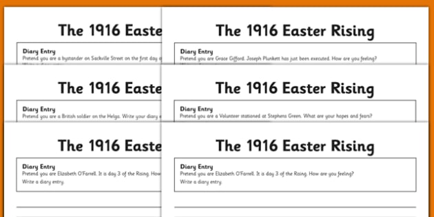 1916 Rising Diary Entries - Easter 1916 Rising, irish history, english,  writing, diary entries