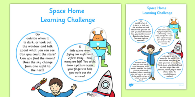 Space Home Learning Challenge Sheet Nursery FS1 - Home learning, homework, parents, early years, EYFS, Space, planets, aliens, the moon, rockets, spaceships