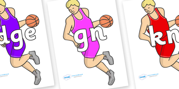 Silent Letters on Basketball Players - Silent Letters, silent letter, letter blend, consonant, consonants, digraph, trigraph, A-Z letters, literacy, alphabet, letters, alternative sounds