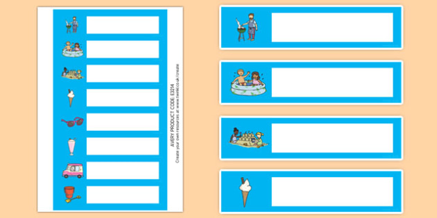 Summer Themed Gratnells Tray Labels - seasons weather, signs