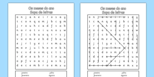 Os meses do ano Sopa de letras Portuguese - portuguese, months, year, word search