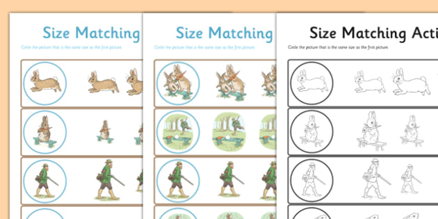 Beatrix Potter - The Story of a Fierce Bad Rabbit Differentiated Size Matching Activity Sheet Pack - beatrix potter, fierce, bad, rabbit, worksheet